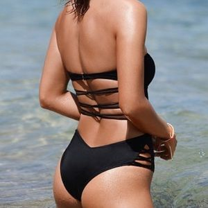 Victoria's Secret strapless black one piece bikini
